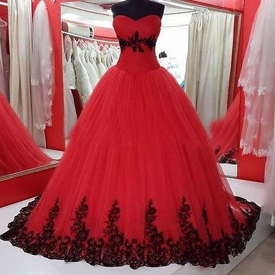 Special 2016 Black and Red Wedding Dresses Organza Wedding Bridal Gowns Custom