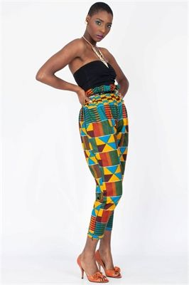 Geometric Paperbag Trousers ~Latest African Fashion, African Prints, African fashion styles, African clothing, Nigerian style, Ghanaian fashion, African women dresses, African Bags, African shoes, Nigerian fashion, Ankara, Kitenge, Aso okè, Kenté, brocade. ~DK