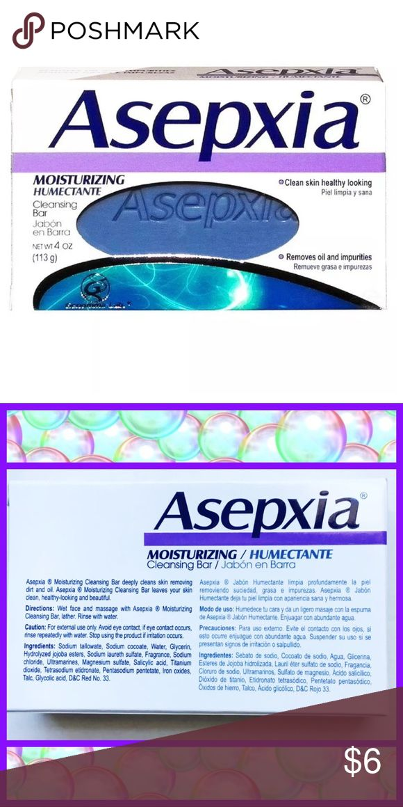 🚿 Asepxia Moisturizing Soap 🚿 Asepxia Moisturizing Cleansing Bar Net Wt. 4 oz. Clean skin healthy looking Removes oil and impurities Asepxia Moistening Cleansing Bar deeply cleans skin removing dirt and oil, cleaning bar, leaves your skin healthy-looking and beautiful.  Directions:  Wet face and massage with Asepxia, Lather, Rinse with Water.  Precautions:  Do not use if allergic to any of the ingredients listed in the pic. Asepxia Makeup