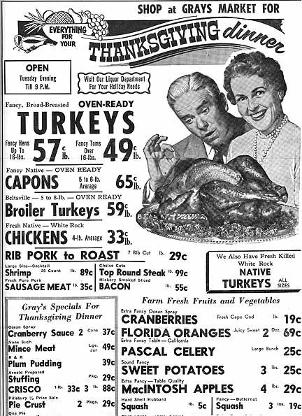 Ad for Thanksgiving food sales at a grocery store in Brighton, MA in 1955.