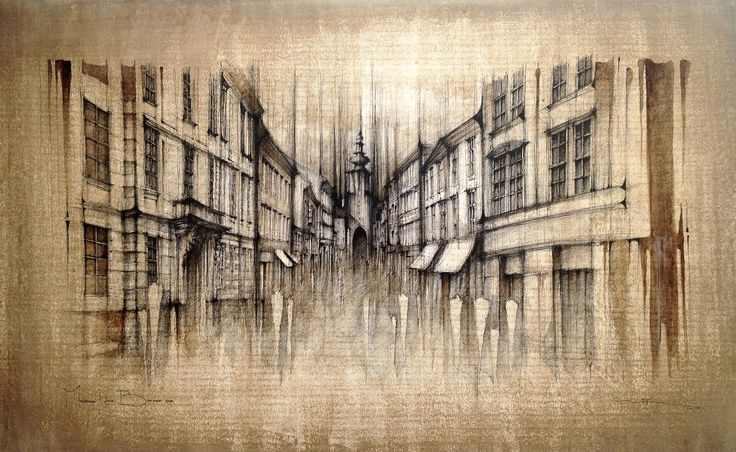 BRATISLAVA - MICHALSKA STREET, Slovakia,  Drawing on paper, coffee coloured, 50x40cm   © Pavel Filgas 2016   https://www.facebook.com/Pavel-Filgas-Art-500412180019911/ https://www.instagram.com/pavel_filgas_art/ https://twitter.com/PavelFilgas https://www.pavelfilgas.com, PAVEL FILGAS
