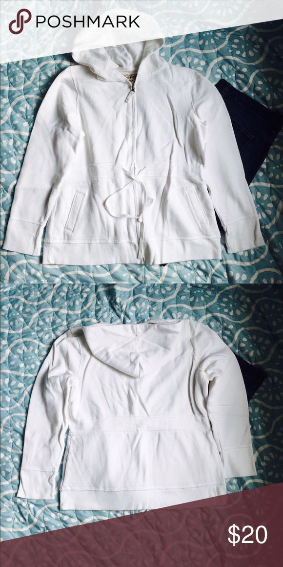 White zip up hoodie Waffle white zip up hoodie with tie detail. Stamp 10 Tops Sweatshirts & Hoodies