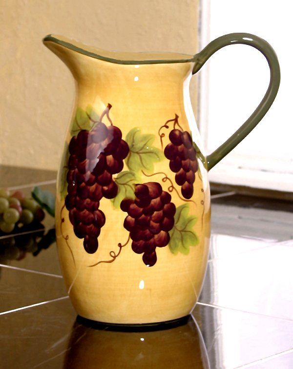 Grape Kitchen Items Ceramic Water Pitcher Grape Decor The Grapes Have Been Delicate Hand