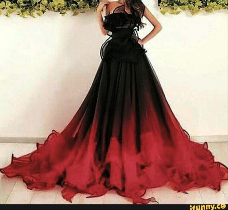 Black to Red ombre dress gown