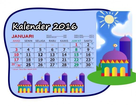 Kalender 2016 Meja Saku Masjid Kartun Lengkap - 01 Januari - Kalender 2016 Meja Saku Format Vector plus Hari Libur Nasional-Gambar Masjid Kartun Clipart