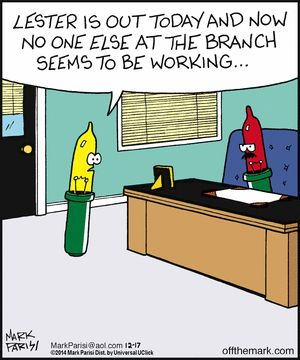 """Working at the branch...    - """"Off the Mark"""" by Mark Parisi;  12/20/14"""