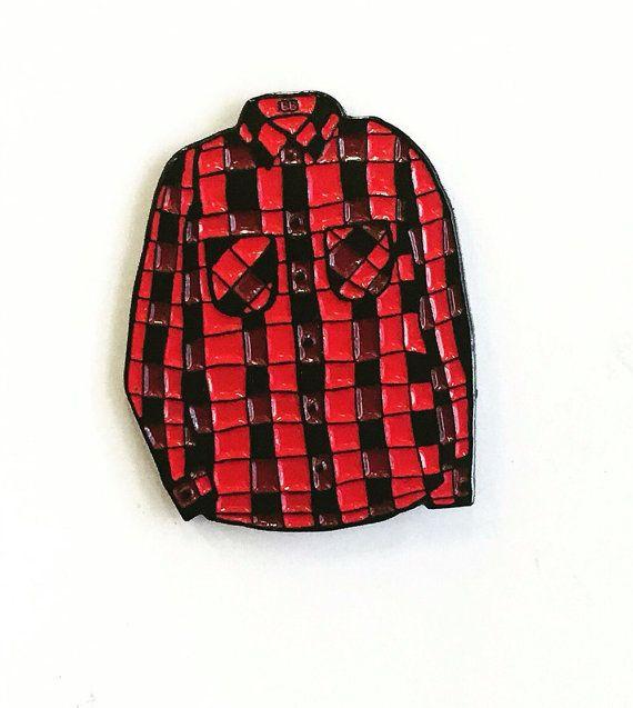 FLANNEL SEASON IS THE BEST SEASON // Red Flannel Shirt Enamel Pin