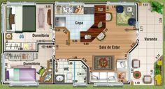 0019 Plano de casa de 53 Metros Cuadrados y 2 Dormitorios. Acá el plano de esta casa de 53 metros cuadrados habitables, de tan solo 2 dormitorios 1 de ellos en suite, cuarto de baño compartido para la casa entera, Living y comedor amplio con cocina estilo americano. Mire el plano de esta vivienda, ojala le guste.