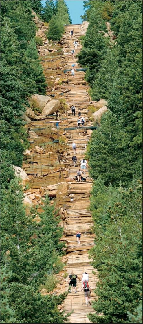 The Manitou Incline in CO - vertical wonder that gains 2,000 feet in elevation in less than a mile. I've done this!