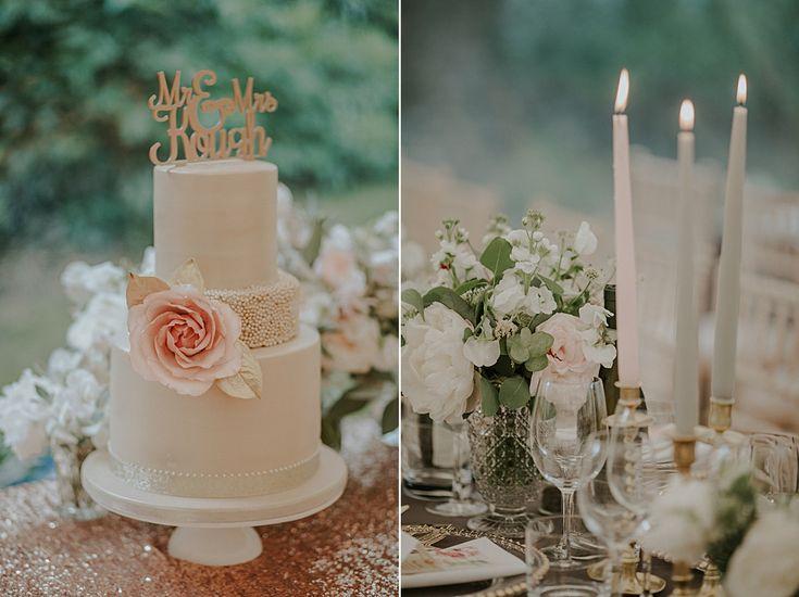 blush rose gold wedding cake - luxe bohemian wedding #rusticweddinginspiration