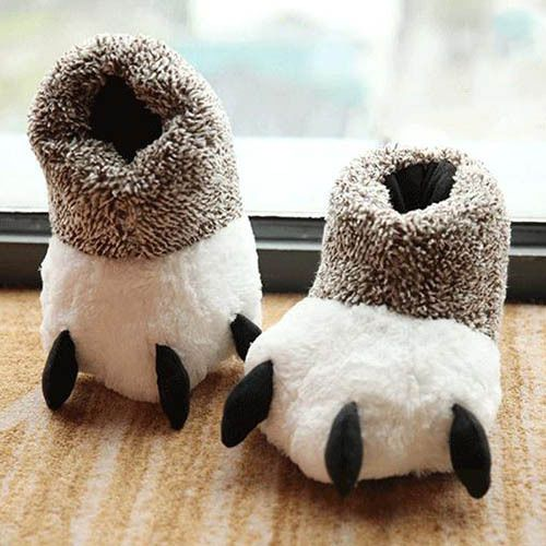 Cute Bear Claws Winter Warm Plush High-top Men Women Cotton Slippers Soft Shoes