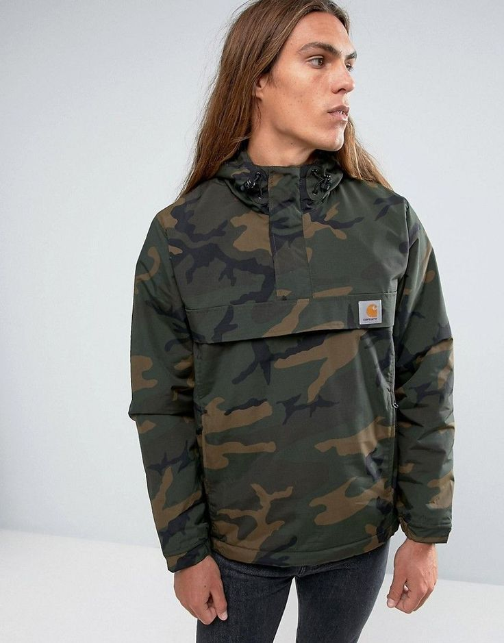 Get this Carhartt WIP's printed t-shirt now! Click for more details. Worldwide shipping. Carhartt WIP Nimbus Overhead Jacket in Camo - Green: Jacket by Carhartt WIP, Camouflage nylon, Adjustable hood, Over-the-head style, Half-zip placket, Functional pockets, Drawstring hem, Regular fit - true to size, Machine wash, 100% Nylon, Our model wears a size Medium and is 185.5cm/6'1 tall. More than a century after Hamilton Carhartt established his Detroit business, Carhartt Work In Progress (WIP)…