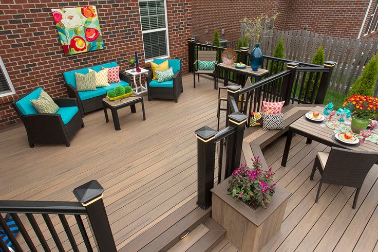 Trex Decking Colors >> TimberTech's Legacy Collection Deck in Pecan with Eclectic style decor. | Eclectic Style ...