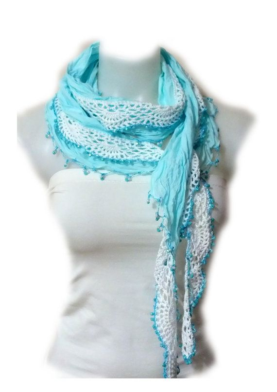 Cotton Lace scarf Crochet Lace scarf by MissSelinAccessories