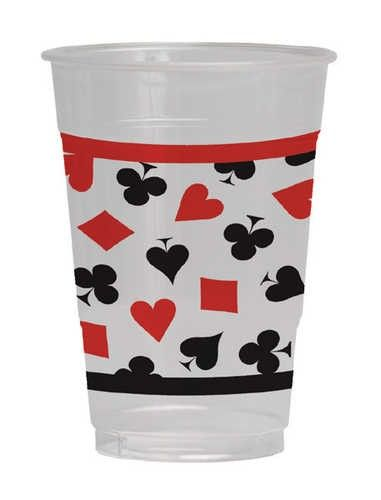 Card Night Clear Plastic Cup 16oz 8ct | Wally's Party Factory #casino #cup