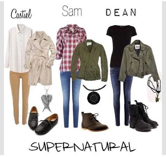 Looks alike outfit for Fem Castiel, Sam and Dean