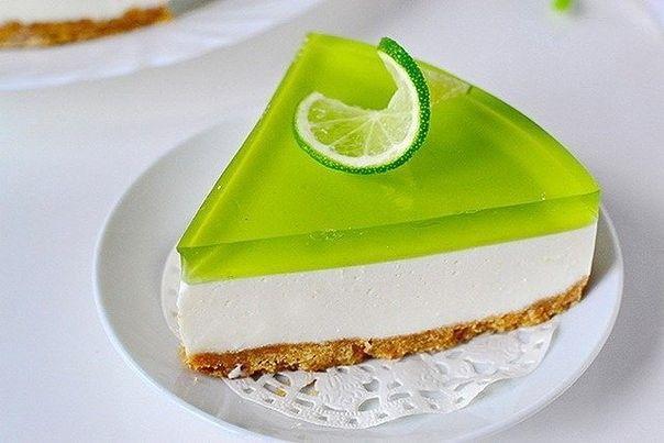 Лаймовый желейный торт без выпечки   Вкусняшкино.COM