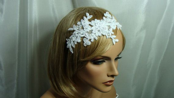 Wedding Lace Headband White Floral Lace Headband   This white bridal lace headband is beaded with pearls and sequins.   Production time of item: 5 - 7 days  Thank you for visiting my shop.