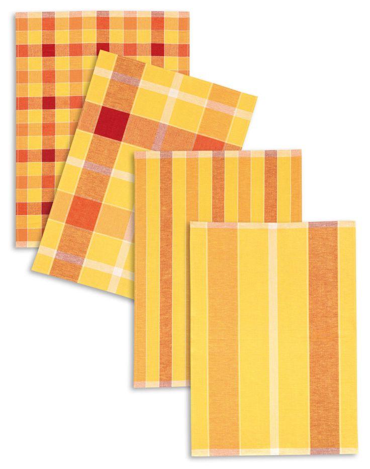 4-er Set Triolino® Geschirrtücher, Halbleinen, Karo/Streifen, terra, 50x70 cm | eBay