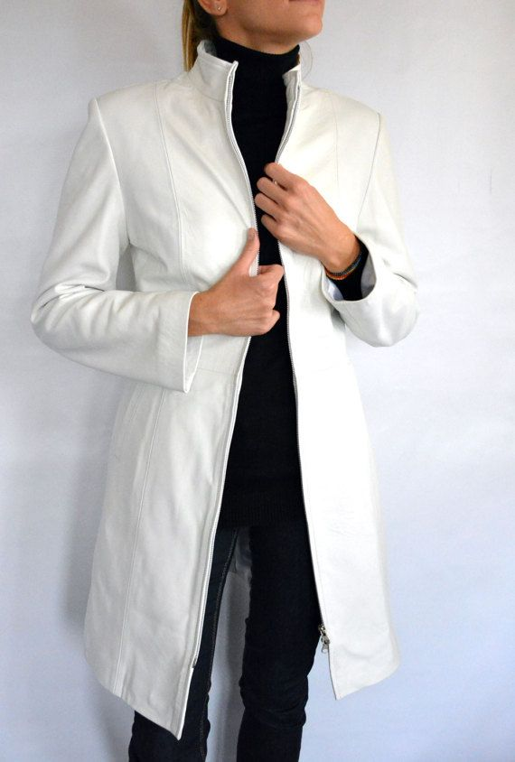 Women's White long Leather Jacket. Elegant Women by lefushop