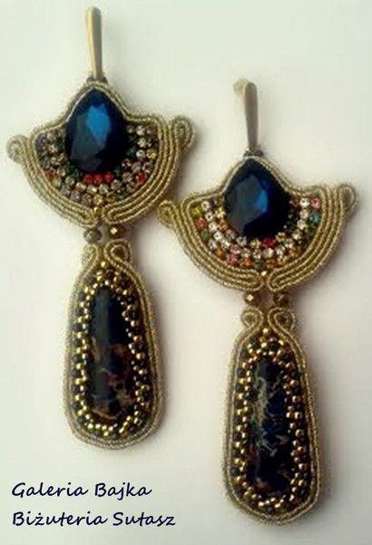 """Kolczyki sutasz (soutache)  """"Nefretete"""" w Galeria Bajka Soutache Jewelry na DaWanda.com"""