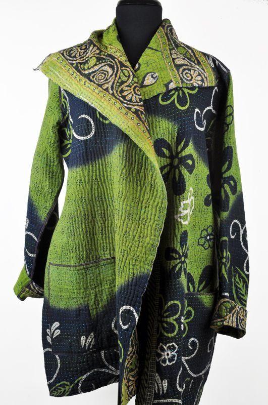 Mieko Mintz pocket kantha jacket - green, navy: