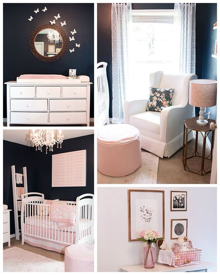 Pink And Gray Girls Baby Room: Love The Dark Walls And White Furniture