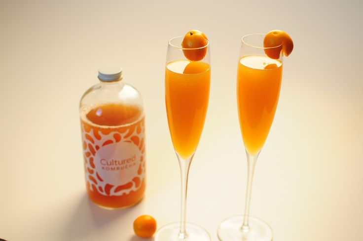 Peach kombucha mixed with bubbly makes a perfect brunch mimosa!