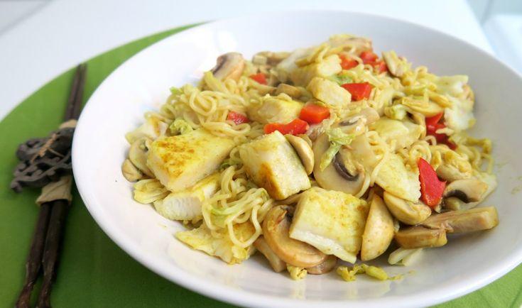 Recept: Noodles met Witvis en Chinese Kool