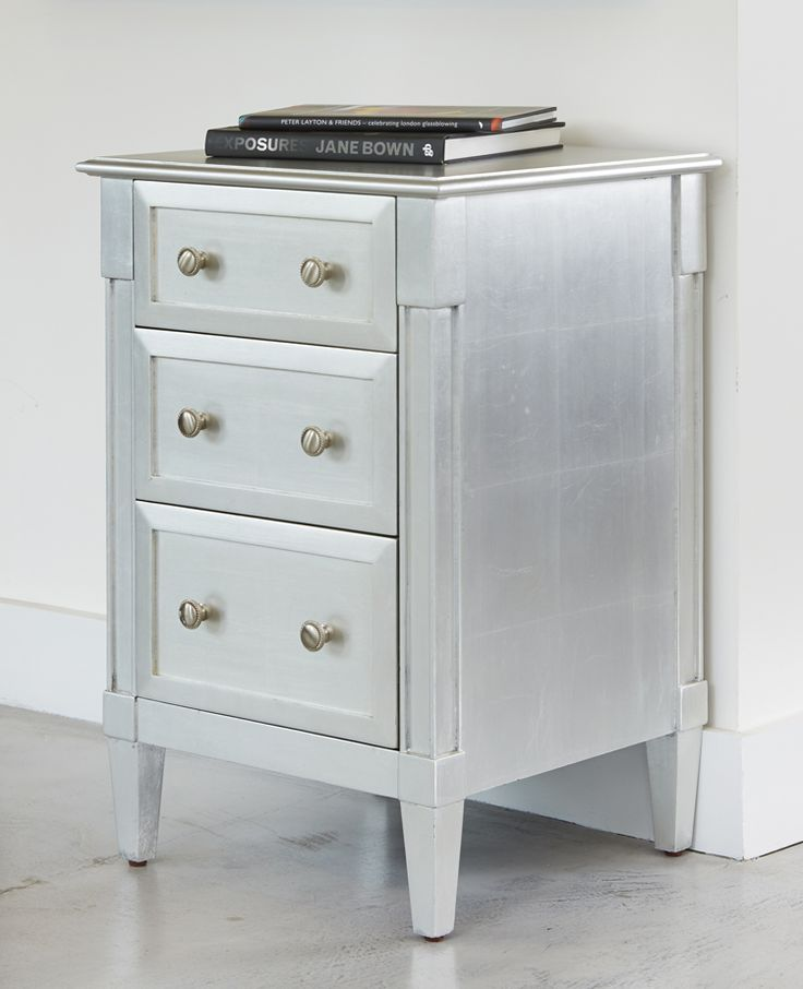 The Empire bedside table coordinates with the Empire chest of drawers - shown in glam silver leaf simonhorn.com