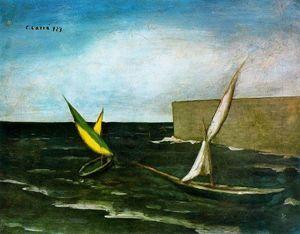Carlo Carrà - Vele nel porto