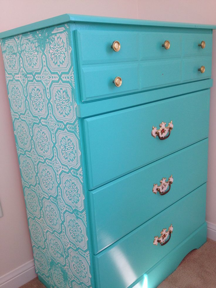 DIY Teal chest of drawers
