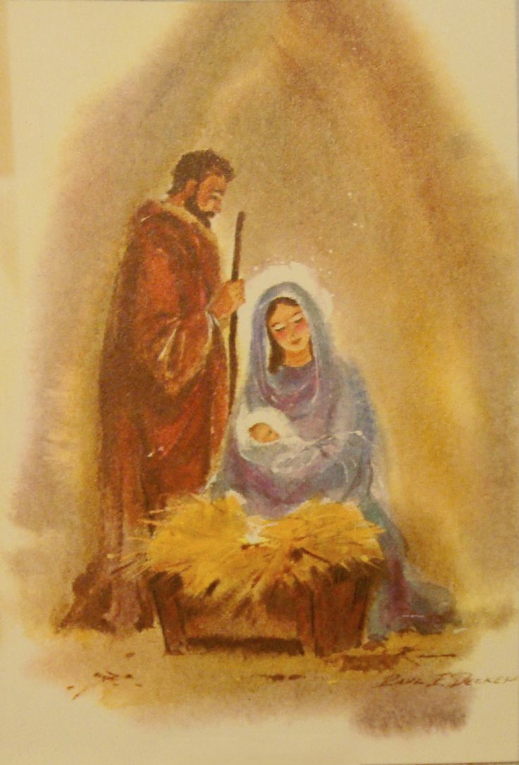 Vintage christmas card christmas graphics 2 nativity Christmas card scenes to paint