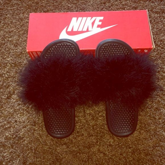 Nike Slides with Fur Nike slides with fur. Comes with box, will ship out today. Nike Shoes