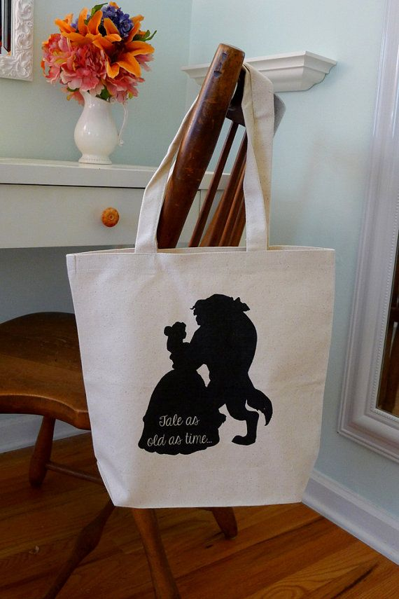 Beauty and the beast, Disney Belle, Disney tote, tote bag, beauty and the beast tote, disney silhouette on Etsy, $14.87 CAD