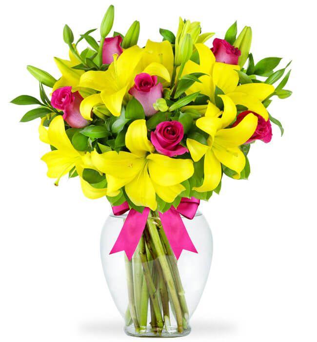 Arreglo de Rosas y Lilies Amarillas en Zapopan, Ramo de flores, arreglos de flores, enviar flores, flores a domicilio