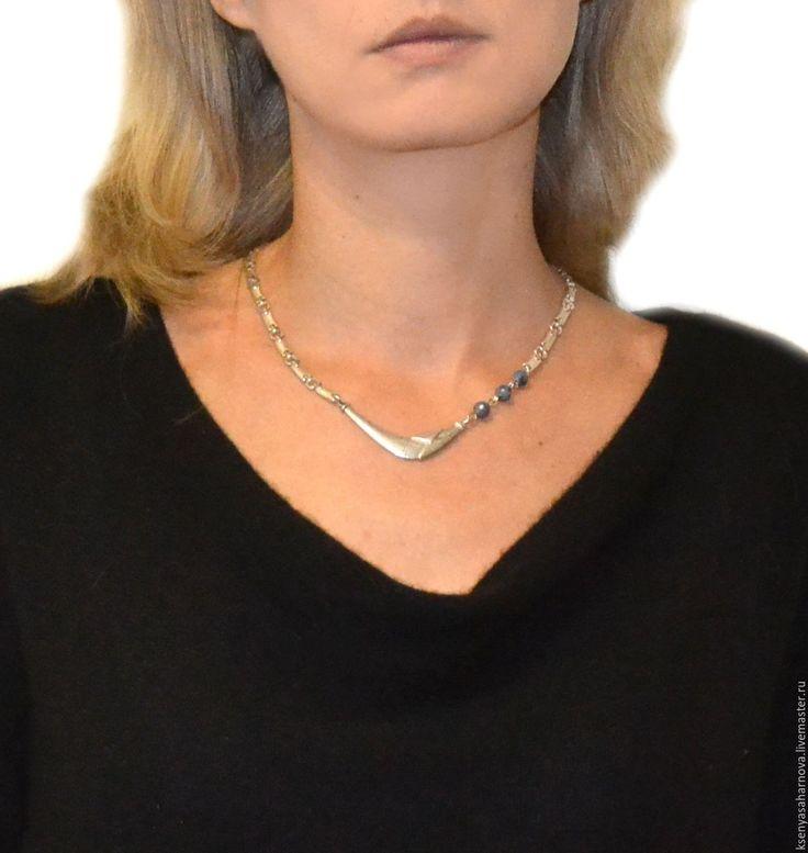 Купить Колье серебряное с синим сапфиром Северный ветер (серебро 925) - серебряные украшения
