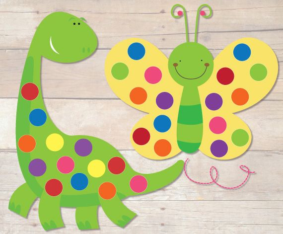 Free Dinosaur and Butterfly Pom Pom Mats Busy Little Bugs