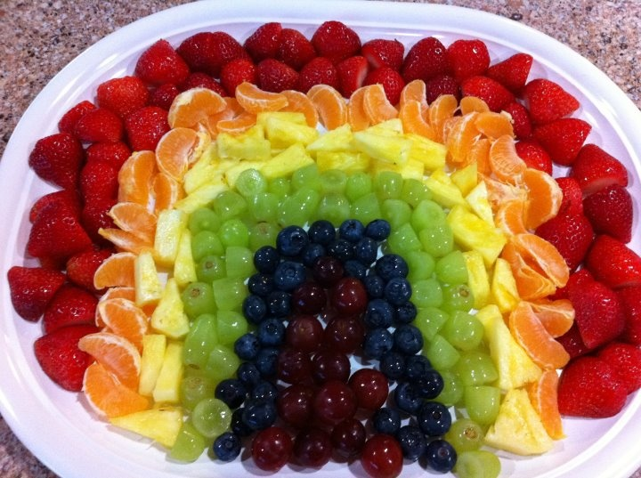 I made this fruit rainbow for my daughter's 4th birthday: 4Th Birthday, Fruit Plate, Birthday Parties, Rainbows Birthday, Mom Birthday Cakes, Cloud, Mila Birthday