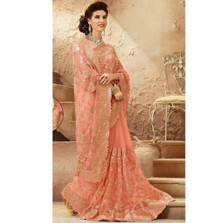 Peach Net Resham Zari Party Wear Embroidered Saree - Brijraj Fashions Indian Ethnic Wear, Bridal Wear, Suits, Sarees
