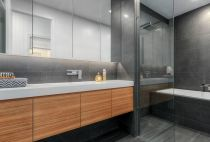 frameless shower panel and mirror vanity cabinets