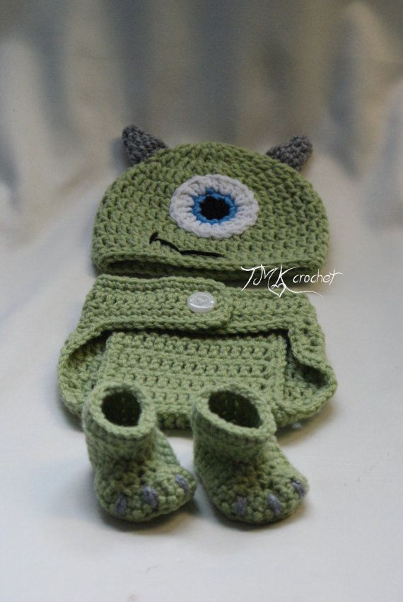 Crochet Monsters Inc. Mike Hat and Diaper Cover Set Pattern, Photo Prop. 0-3 months. 3-6 months. baby.