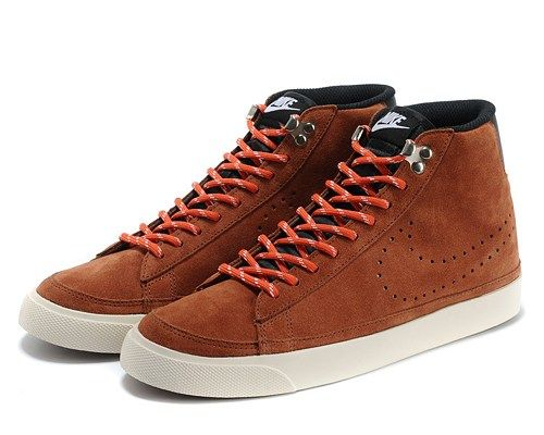 Cheap 371761-805 Nike Blazer MID suede brown red men running shoes