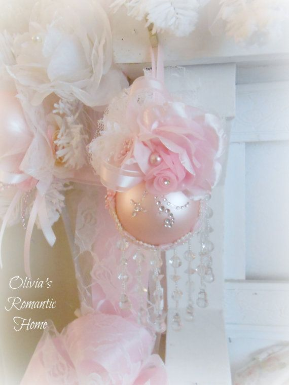 Pink Princess Victorian Rose Floral Sparkling Venetian Trim Chandelier Ornament Christmas Tree Trim Pearl White Shabby Chic Rose Bow