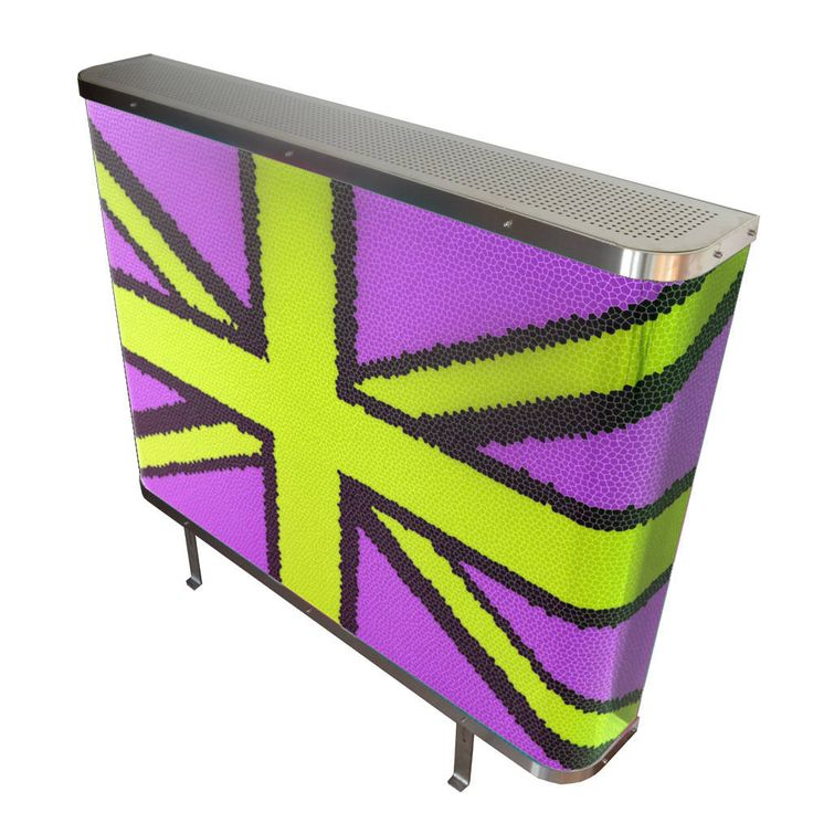 YOYO Mosaic Union Jack radiator cover in purple and yellow (From Modern Radiator Covers and Window Shutters)
