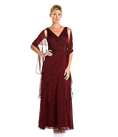 Ignite Evenings Ruched AsymmetricTiered Gown with Wrap #Dillards