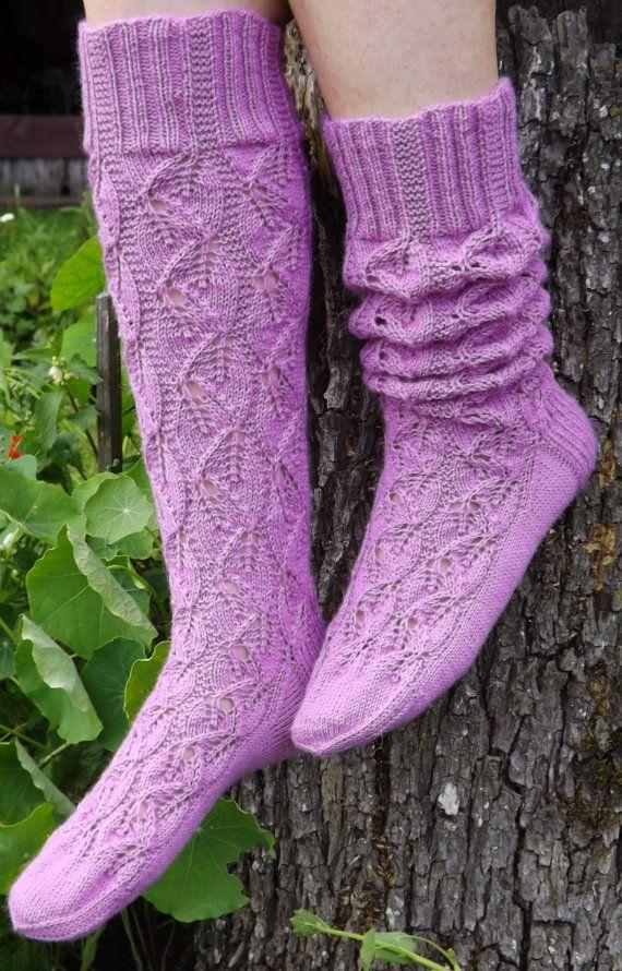 Knit socks Wool socks Womens socks Hand knit socks Lace knit