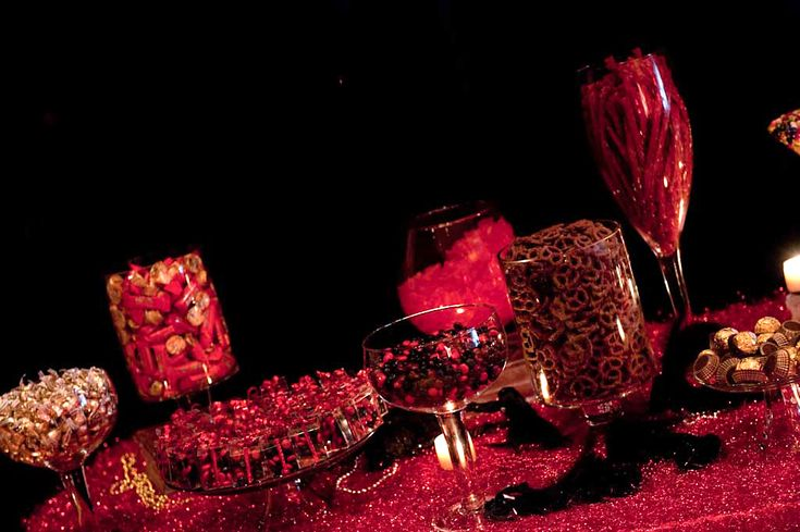 an elegant but fun moulin rouge party candy buffet!