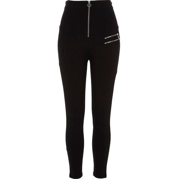 River Island Black high waisted zip detail leggings (£43) ❤ liked on Polyvore featuring pants, leggings, black, women, high-rise leggings, high-waisted pants, high rise leggings, high-waist trousers and tall pants