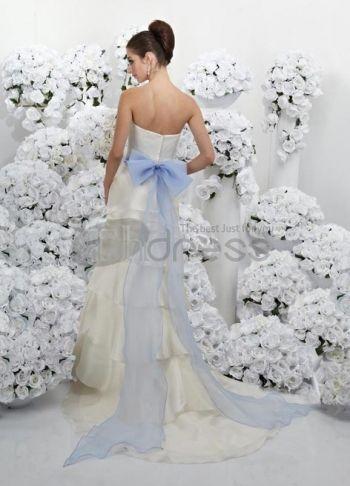 Abiti da Sposa Colorati-Avorio e turchese battente senza spalline abiti da sposa colorati